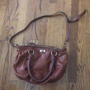 Jcrew brown leather cross body / shoulder bag